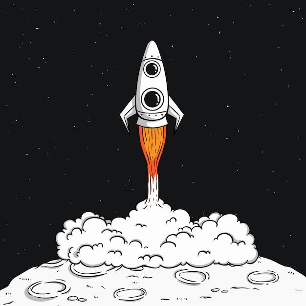 煙と宇宙の図で月に宇宙ロケットの打ち上げ Premiumベクター