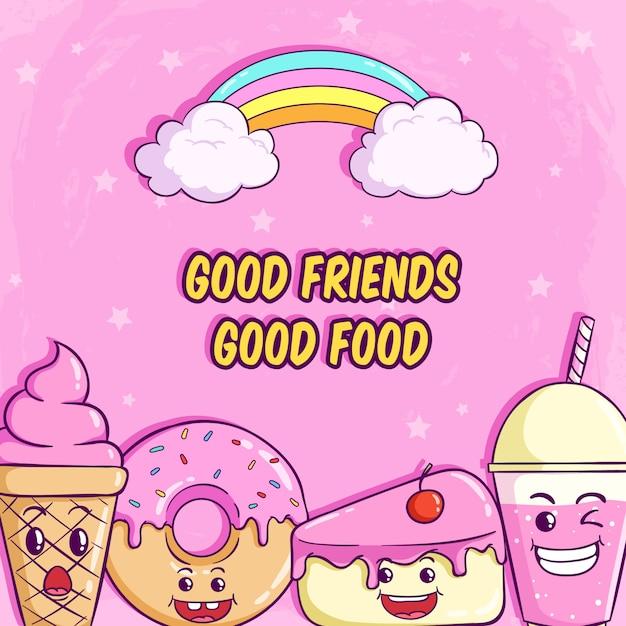 ピンクの面白い表現でかわいいドーナツ、スライスケーキ、ミルクセーキの顔 Premiumベクター