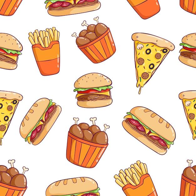 ピザ、ハンバーガー、ドラムスティックとおいしいかわいいジャンクフードのシームレスパターン Premiumベクター