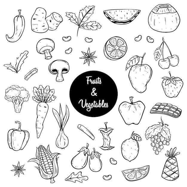 果物や野菜のスケッチや手描きのスタイルの図 Premiumベクター