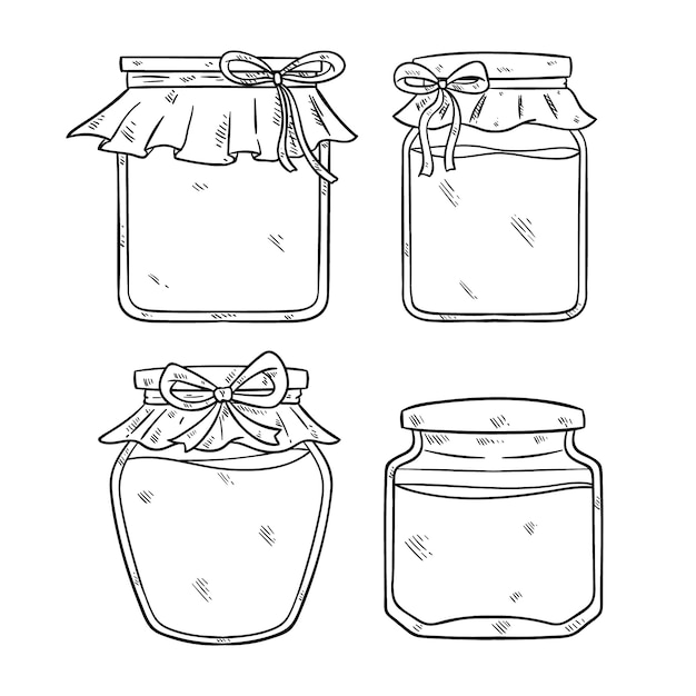 手描きまたはスケッチスタイルの黒と白の瓶イラスト Premiumベクター