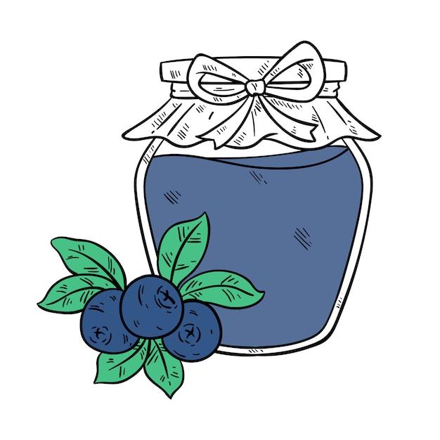 スケッチまたは手描きスタイルを使用した瓶入りブルーベリージャム Premiumベクター