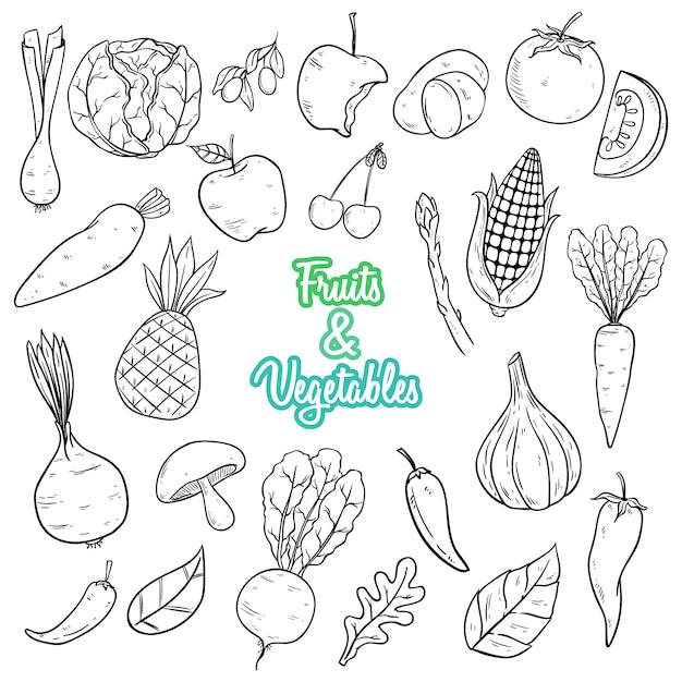 野菜や果物は黒と白の色で描かれたスタイルを手します。 Premiumベクター