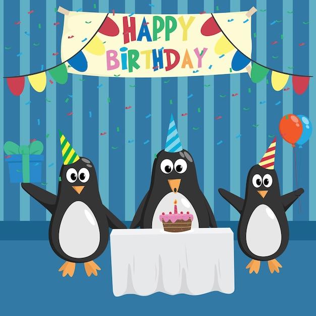 Открытка пингвин с шариками