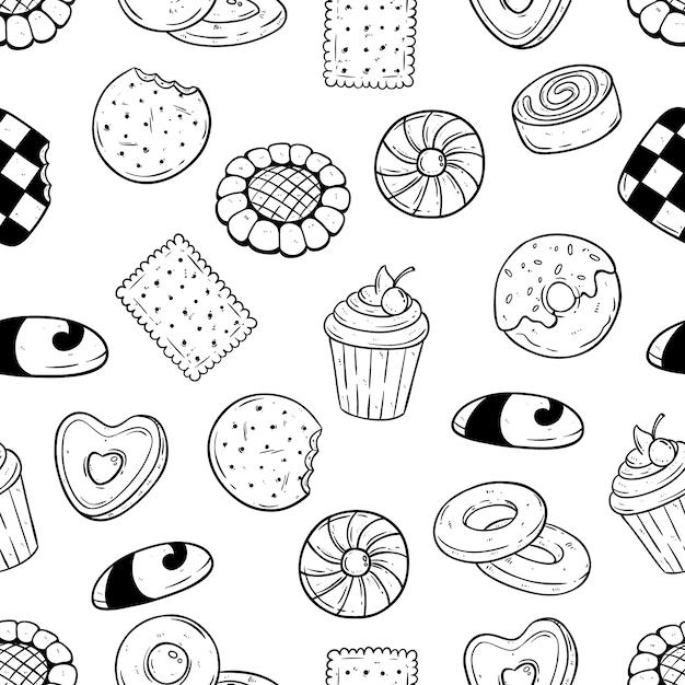 ビスケットとクッキーの食品は、シームレスなパターンで手描きのスタイル Premiumベクター
