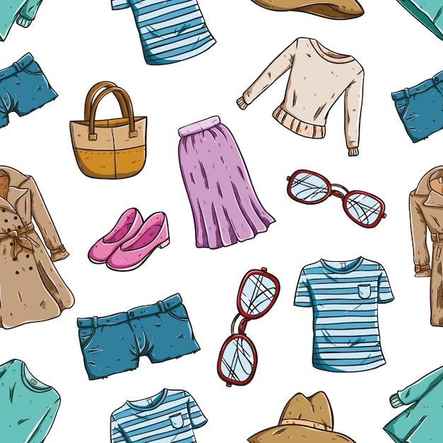 シームレスなパターンで女性の衣類やアクセサリーのファッショナブル Premiumベクター