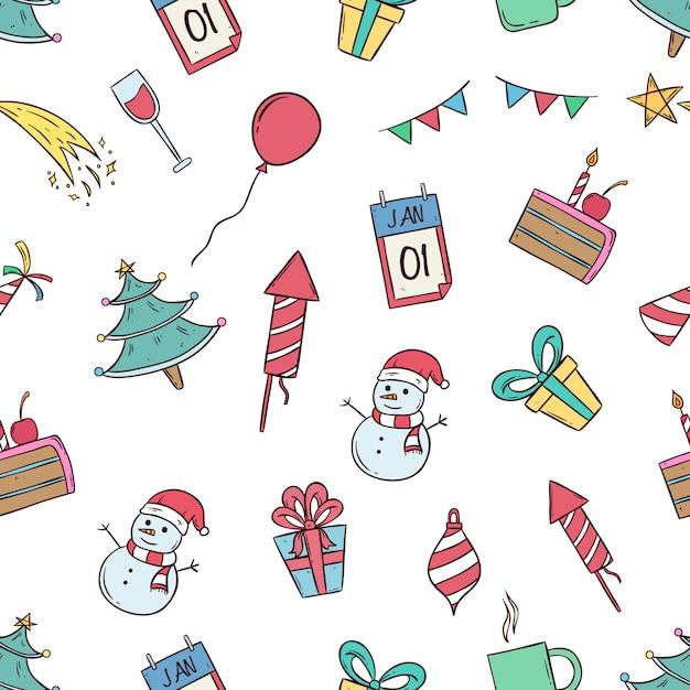 Иконки празднования нового года в бесшовные модели с цветными каракули стиль Premium векторы