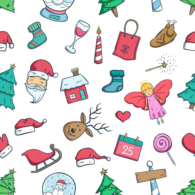 Бесшовный фон из каракули рождественские иконки или элементы Premium векторы
