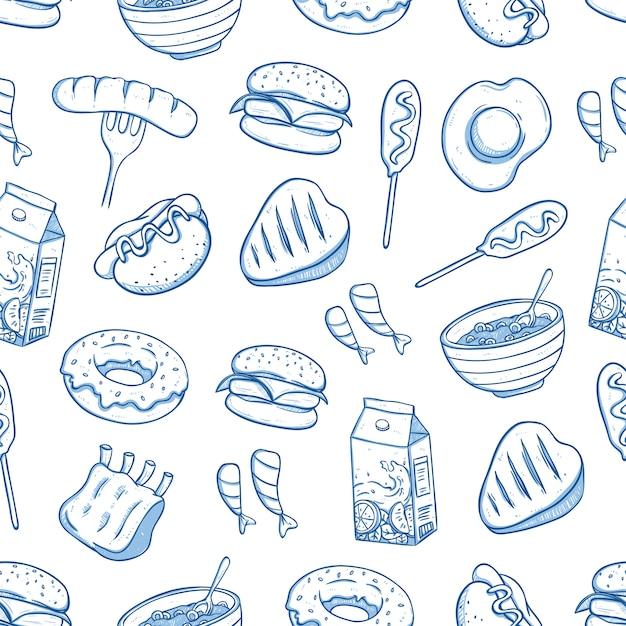 落書きや手描きのスタイルでおいしい食べ物のシームレスパターン Premiumベクター