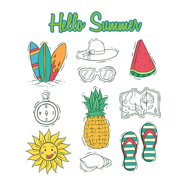 Набор летней коллекции икон с цветными стороны обращено стиль Premium векторы