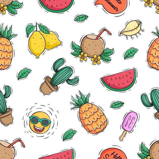 色の落書きスタイルと夏の果物のシームレスパターン Premiumベクター