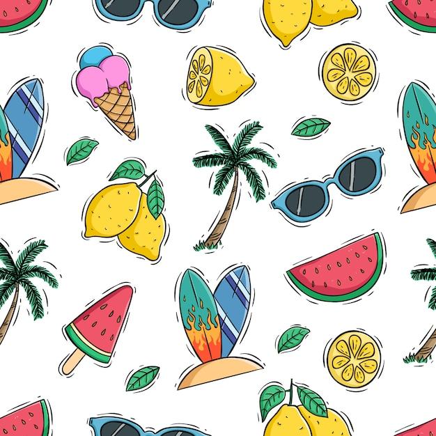 Летний бесшовный фон с лимоном, арбузом и кокосовой пальмой Premium векторы