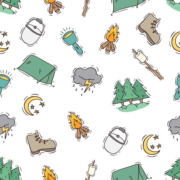 Цветной каракули стиль летнего лагеря иконы в бесшовные модели Premium векторы