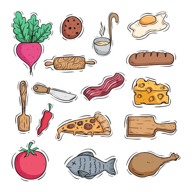 色落書きスタイルでおいしい食べ物のアイコンを調理 Premiumベクター