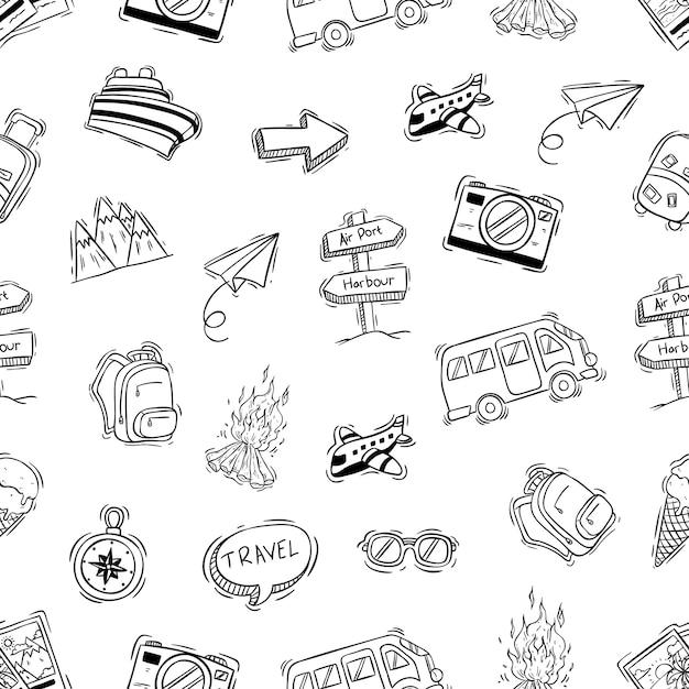 落書きや手描きのスタイルとのシームレスなパターンでかわいいキャンプアイコン Premiumベクター