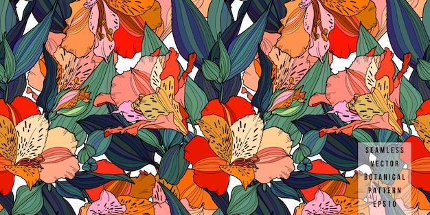 アルストロメリアの手には、葉のシームレスなパターンを持つマルチカラーの花が描かれました。 Premiumベクター