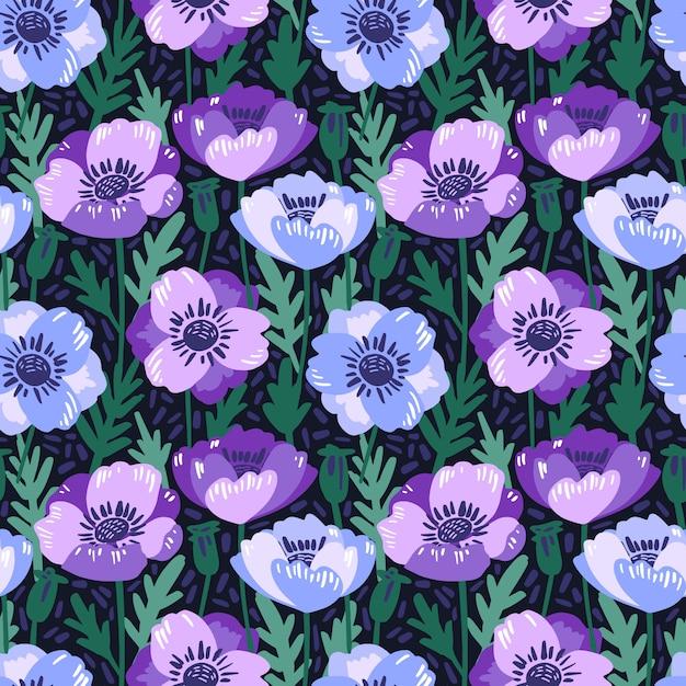 手でシームレスなパターンをベクトル描画バイオレットアネモンの花。 Premiumベクター