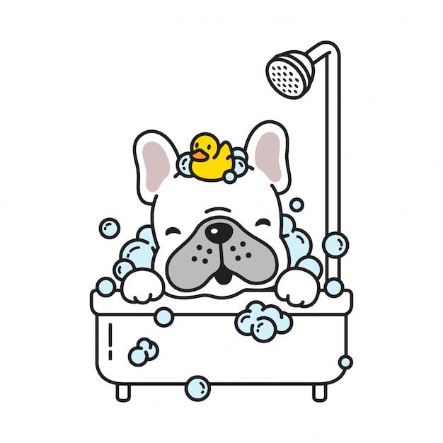 犬ベクトルフレンチブルドッグ風呂シャワーゴム製のアヒル漫画 Premiumベクター