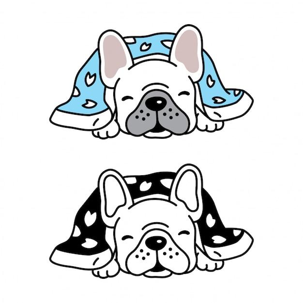 犬ベクトルフレンチブルドッグ子犬眠っている毛布漫画 Premiumベクター