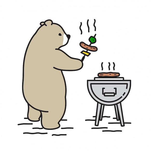 ベアベクトルシロクマピクニックキャンプの漫画 Premiumベクター