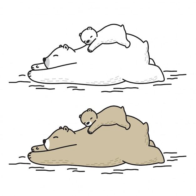 ベアベクトルシロクマ睡眠子供漫画 Premiumベクター