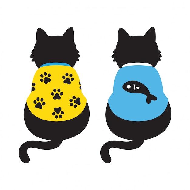 猫子猫漫画 Premiumベクター