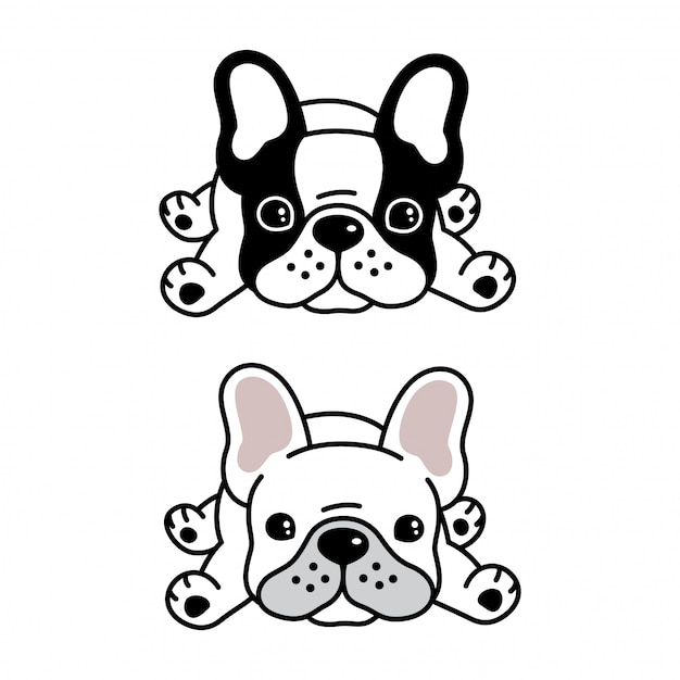 Собака французский бульдог домашнее животное мультфильм Premium векторы