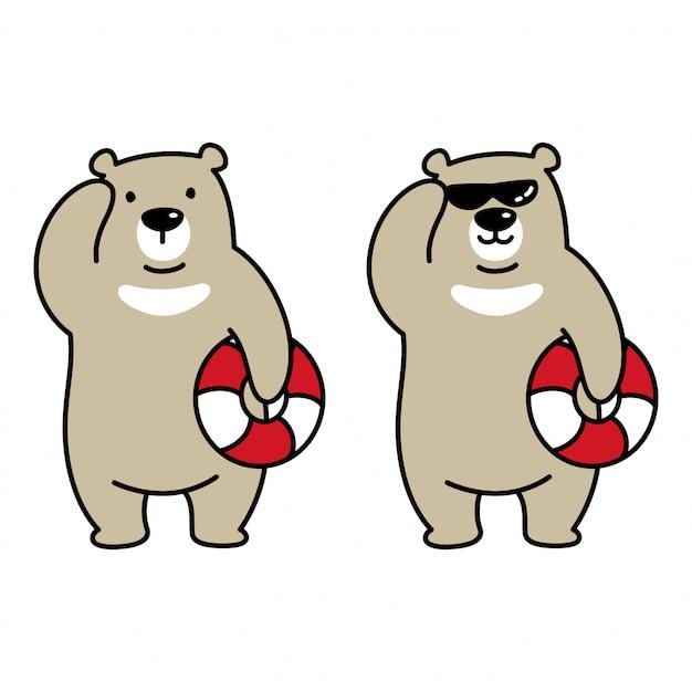 Медведь полярное плавание кольцо иллюстрации шаржа Premium векторы