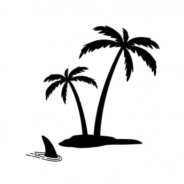 Остров пальмы кокосовый плавник акулы Premium векторы
