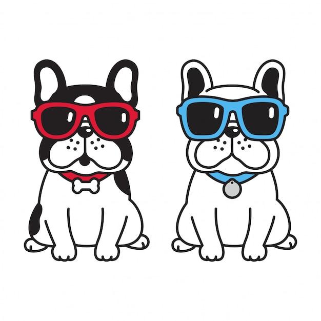 サングラスと犬のフレンチブルドッグ Premiumベクター
