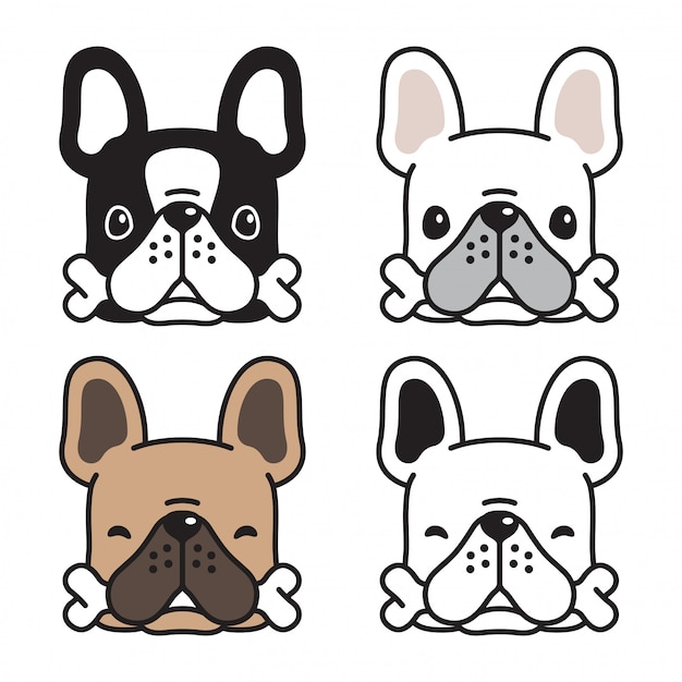犬フレンチブルドッグ骨漫画 Premiumベクター