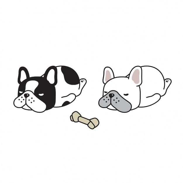 犬フレンチブルドッグ睡眠漫画 Premiumベクター