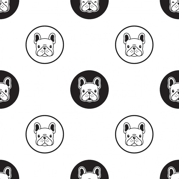 犬フレンチブルドッグのシームレスなパターン漫画イラスト Premiumベクター