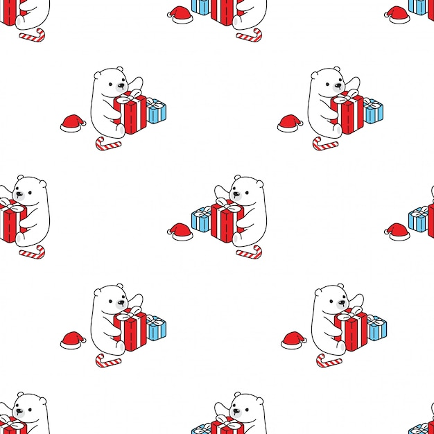 Медведь бесшовные модели полярный рождественский подарок мультфильм Premium векторы