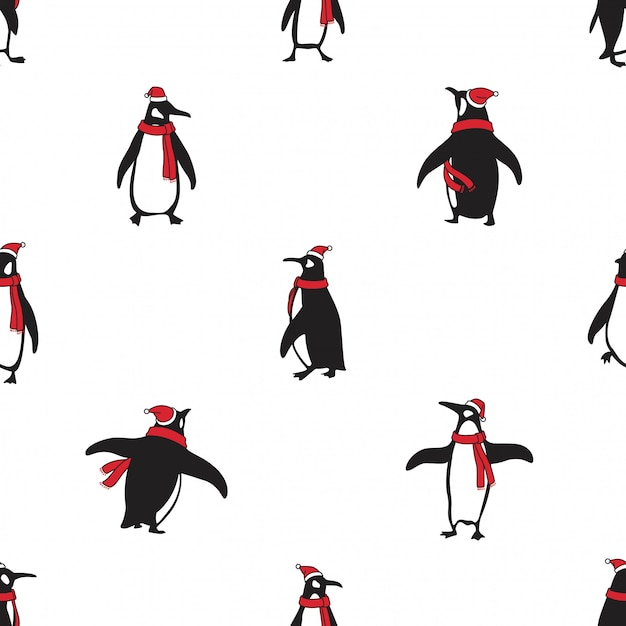 Пингвин бесшовные модели птица рождество санта-клаус шляпа мультфильм Premium векторы