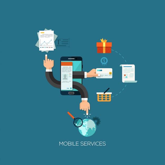 モバイルサービスのためのフラットなデザインベクトル図の概念 Premiumベクター