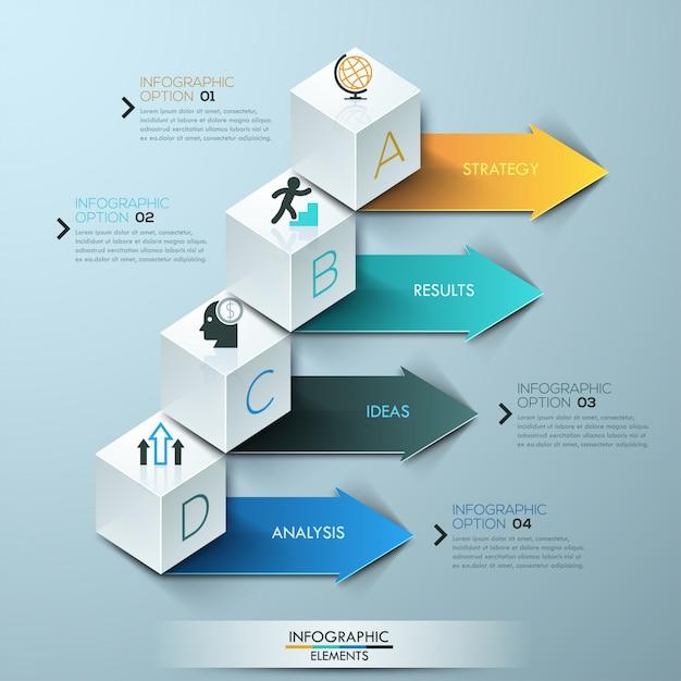 現代のビジネスステップオプション立方体インフォグラフィックテンプレート Premiumベクター