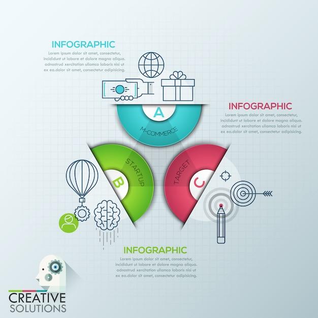 ビジネスインフォグラフィックポリゴン折り紙スタイル Premiumベクター