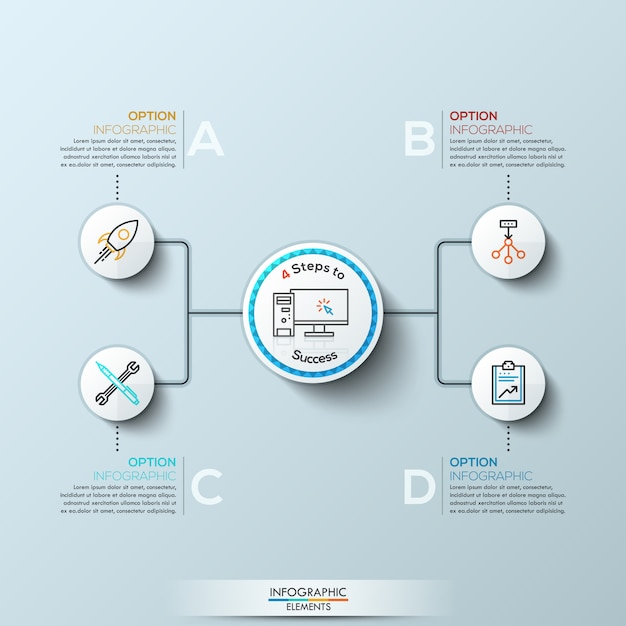 Современная инфографика с четырьмя вариантами Premium векторы