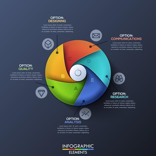 Современный инфографический шаблон с разделенным кругом Premium векторы