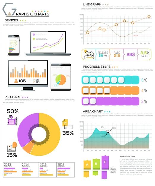 図、チャート、グラフ、ワークフロー要素の大きな束 Premiumベクター
