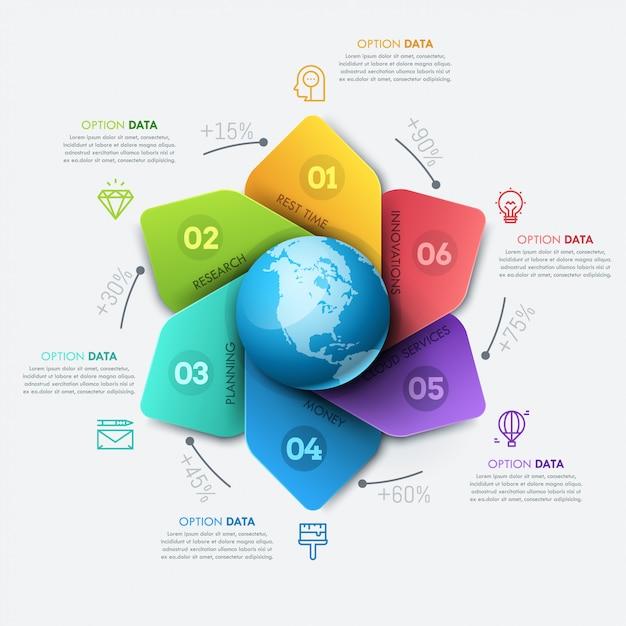 Инфографики дизайн макета. диаграмма цветочного лепестка с глобусом в центре, процентным показателем, текстовыми полями и значками Premium векторы