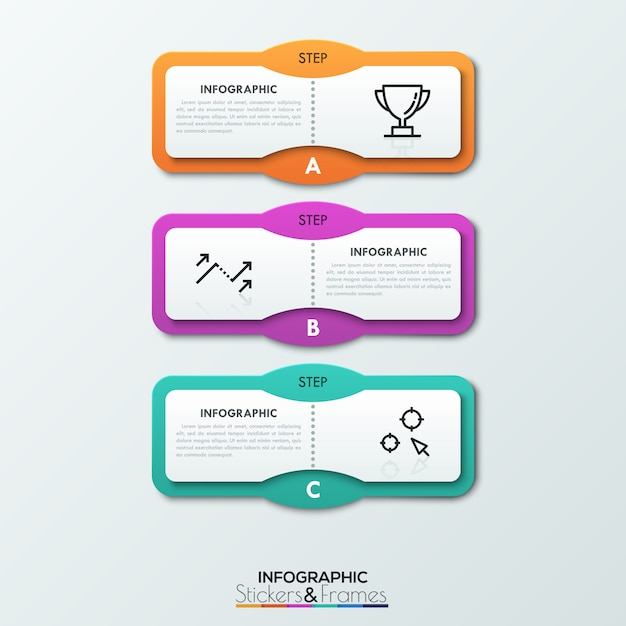 Три буквенных прямоугольных элемента размещены один под другим, текстовые поля и тонкие линии внутри. Premium векторы