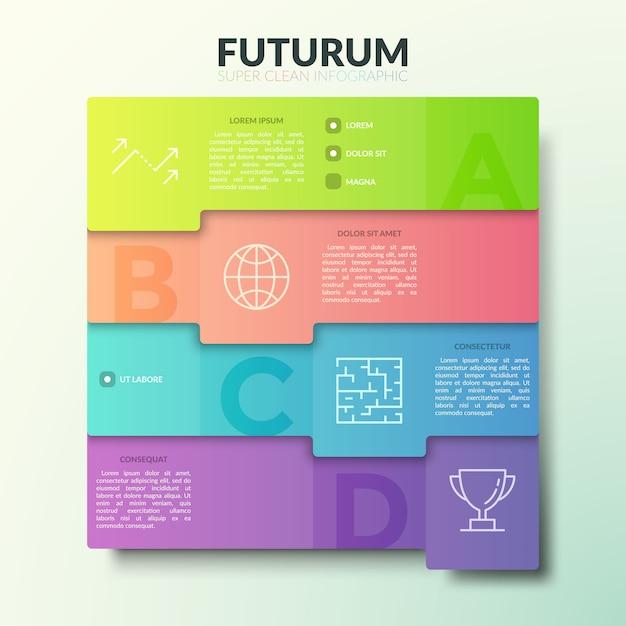 Четыре наложенных друг на друга красочных прямоугольных элемента с буквами, тонкими линиями значков и местом для текста. Premium векторы