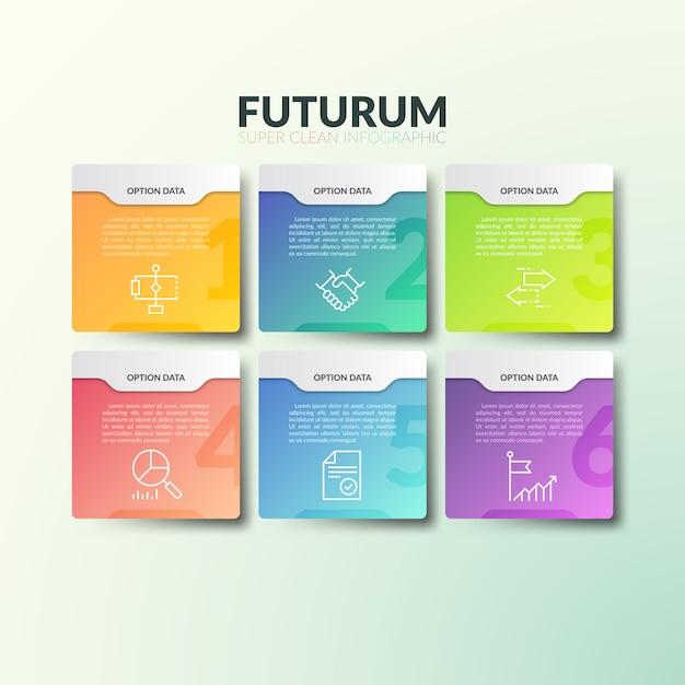Шесть отдельных разноцветных прямоугольных элементов с цифрами, тонкими линиями значков и местом для текста. Premium векторы