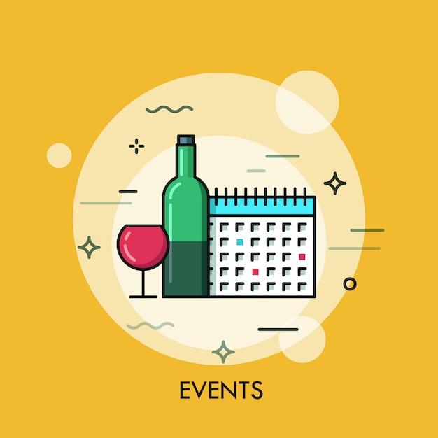 ワインとカレンダーの細い線図 Premiumベクター