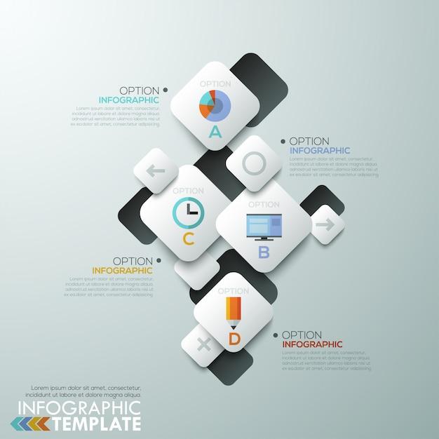 Современный шаблон инфографического процесса Premium векторы