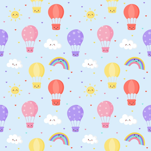 シームレスパターン太陽、風船、虹、雲。かわいい壁紙 Premiumベクター