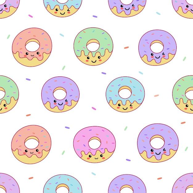 かわいい顔のかわいいパステルドーナツ甘い夏のデザート、漫画のシームレスなパターン Premiumベクター