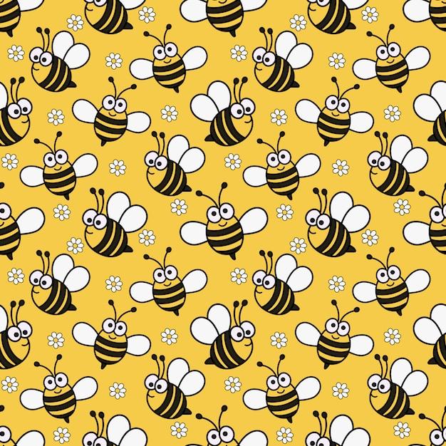 Каваи бесшовные модели милый ребенок пчела мультфильм Premium векторы